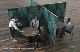 Fabric frame in 4-way configuration for cafe seating social distancing